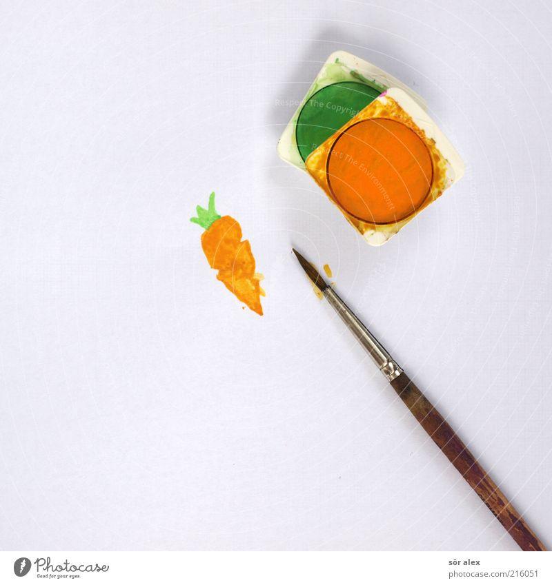 Rüebli - 00 Lebensmittel Gemüse Ernährung Bioprodukte Vegetarische Ernährung Möhre Papier Pinsel Pinselstiel Wasserfarbe lecker schön grün weiß Freude