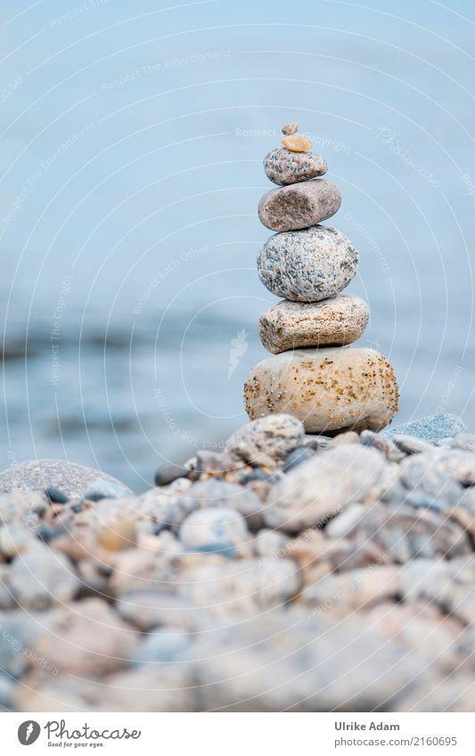 Steinstapel Natur blau Sommer Wasser Landschaft Erholung Strand Küste Sand Zufriedenheit Kraft Energie Wellness Ostsee Inspiration