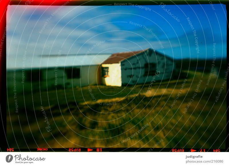 Island Natur Himmel Wiese Haus Einfamilienhaus Hütte Gebäude Mauer Wand Häusliches Leben dunkel Stimmung Einsamkeit analog Farbfoto Menschenleer Tag