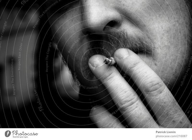 [HH 10.1] Have a cigarette Mensch Mann Haus Erwachsene dunkel Kopf Stimmung hell maskulin Nase Finger Lifestyle Pause Rauchen Bart genießen