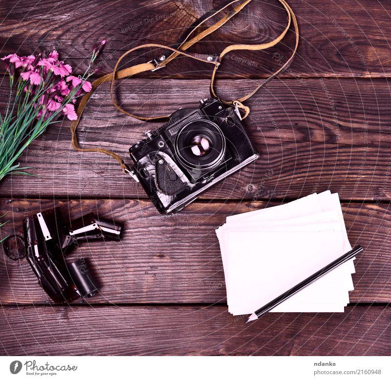 Alte Weinlesefilmkamera in einem ledernen Fall Ferien & Urlaub & Reisen Fotokamera Blume Leder Papier Blumenstrauß Holz alt retro Filmmaterial Gartennelke