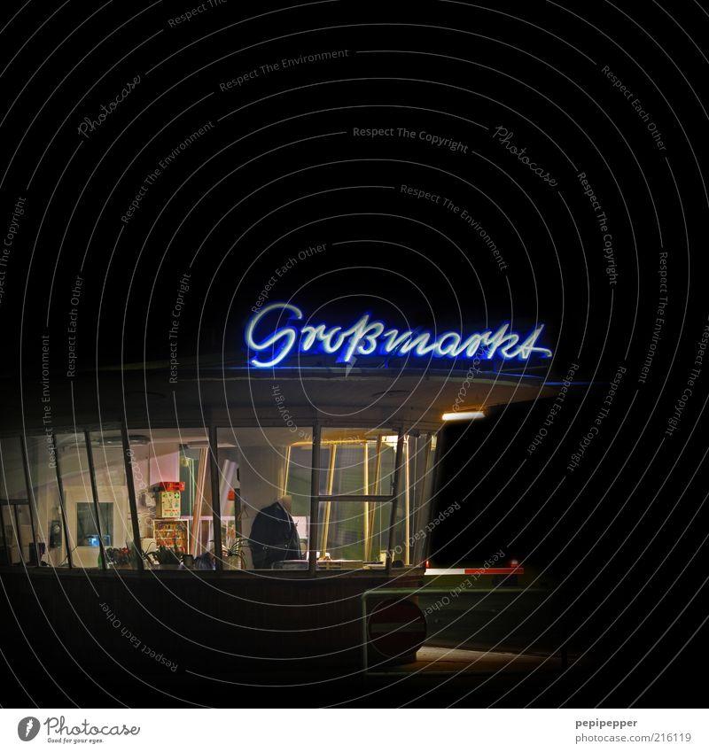 großmarkt Architektur Gebäude Schlagwort Schriftzeichen erleuchten Handel Nacht Neonlicht Text Licht Handschrift Wort Leuchtreklame Nachtaufnahme Wächter Schichtarbeit