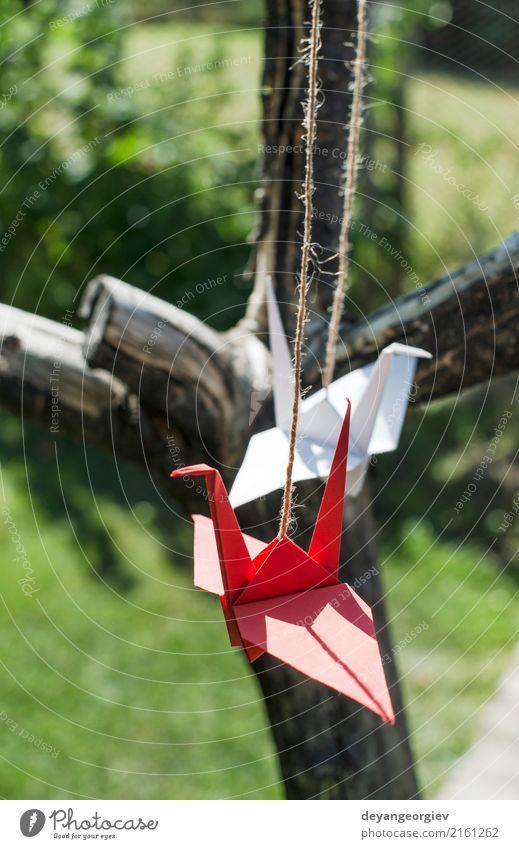 Origami-Kraniche im Garten. Figuren aus Papier in der Natur. schön Sommer Sonne Dekoration & Verzierung Handwerk Kunst Baum Vogel grün rosa rot weiß Farbe