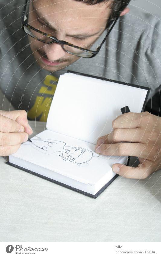 Studie Mensch Mann Jugendliche schön Erwachsene Kunst Freizeit & Hobby Buch maskulin Design Lifestyle Brille Kultur Student Kreativität