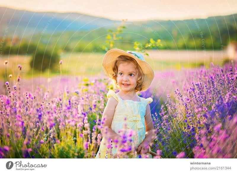 Mädchen im Lavendel Mensch 1 3-8 Jahre Kind Kindheit Himmel Sommer Schönes Wetter Feld Berge u. Gebirge Lavendelfeld Kleid Hut blond Locken Lächeln frei