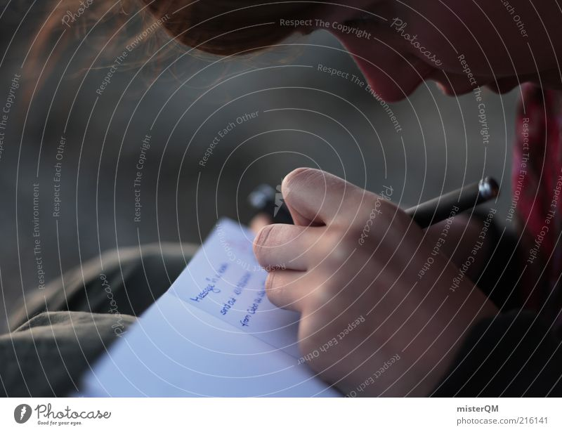Memories. Frau Hand Mädchen Gesicht Leben Haare & Frisuren Zeit ästhetisch schreiben Kind Konzentration Schreibstift Brief Erinnerung Anschnitt Bildausschnitt