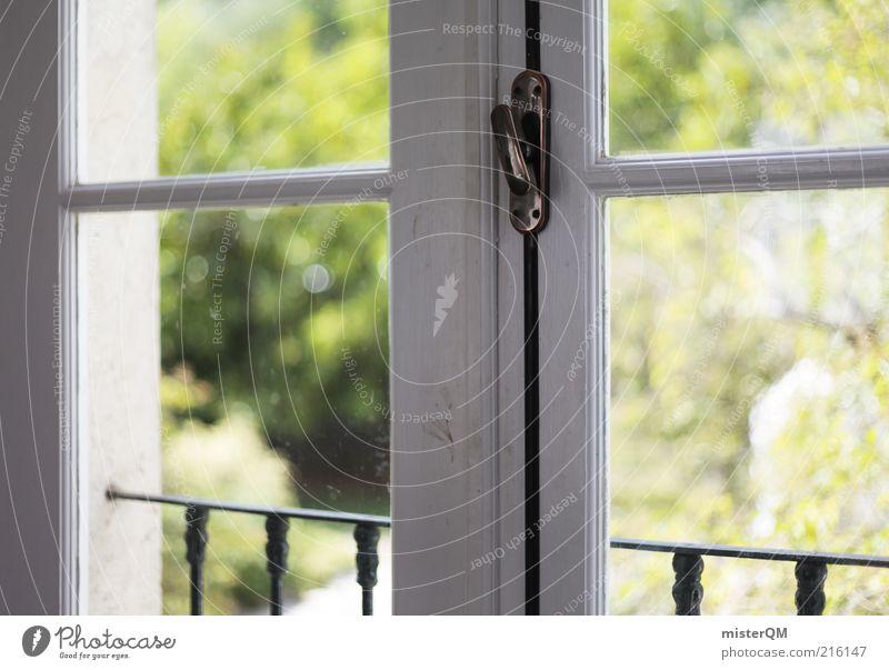 Window. weiß grün Ferien & Urlaub & Reisen Haus Fenster Garten Zufriedenheit hell geschlossen ästhetisch Idylle Fensterscheibe Portugal ungestört Detailaufnahme