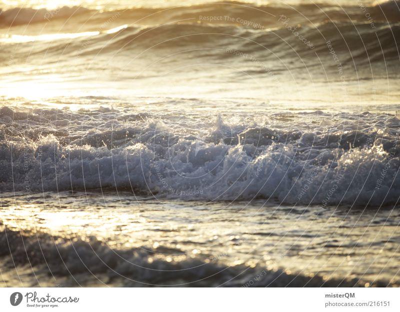 Waves. Wasser weiß Meer grün blau Ferien & Urlaub & Reisen ruhig Erholung Luft Wellen glänzend Wassertropfen Abenddämmerung spritzen vergessen Gischt