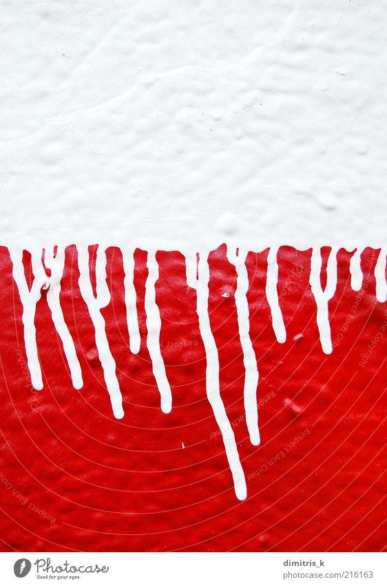 tropfende Farbe Kunst Künstler Gemälde Graffiti Tropfen rot weiß Entsetzen Gewalt Kreativität rennen Streifen Schablone Spray platschen Design sehr wenige