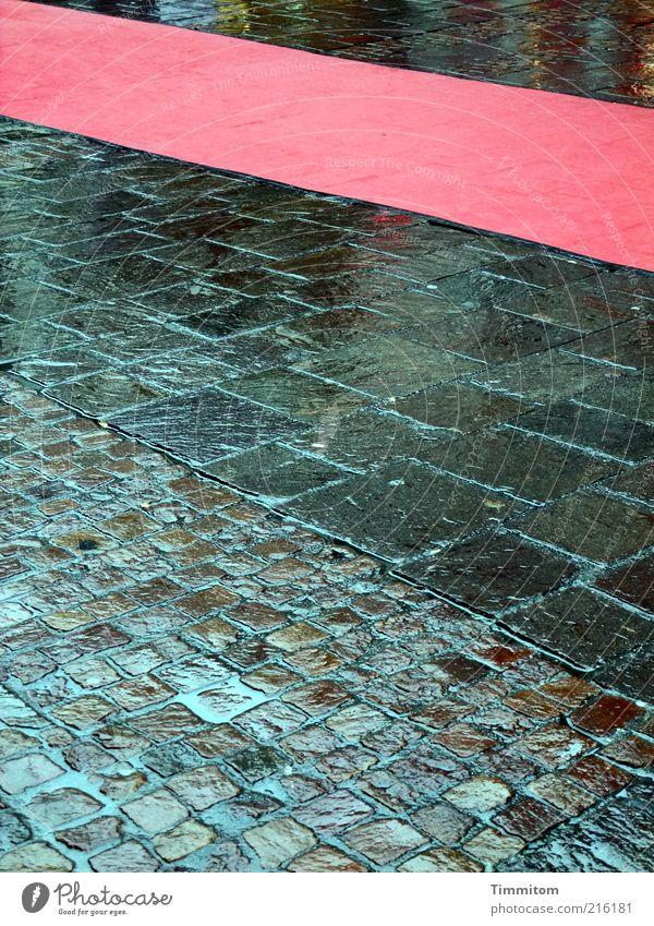 Roter-Teppich-Wetter rot Straße Stein gehen Regen ästhetisch Lebensfreude nass Reichtum Pflastersteine Erwartung schlechtes Wetter Fußgängerzone Bodenbelag