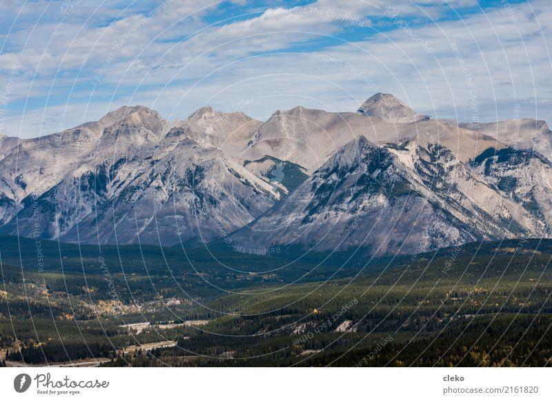 Banff National Park Natur Landschaft Luft Himmel Wolken Sommer Schönes Wetter Wald Berge u. Gebirge Rocky Mountains Gipfel blau grau grün Abenteuer einzigartig