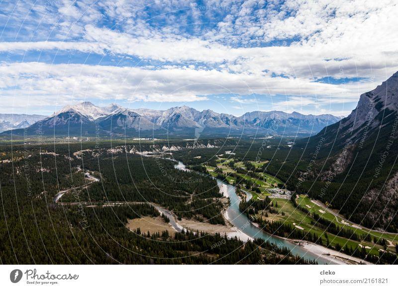 Banff National Park Natur Landschaft Erde Sand Luft Wasser Himmel Wolken Horizont Sommer Wetter Schönes Wetter Berge u. Gebirge Gipfel Flussufer