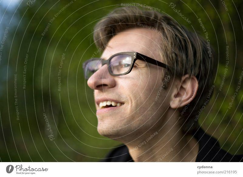 Gelassen Mensch Natur Freude Gesicht Umwelt Leben Freiheit träumen Zeit Zufriedenheit Lifestyle Brille einzigartig Lächeln Vertrauen Gelassenheit