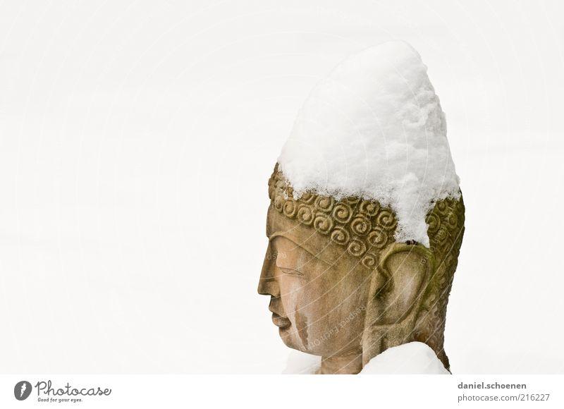 darf auch für religiöse Zwecke verwendet werden Kunst Skulptur Schnee Stein Religion & Glaube Buddha Buddhismus Buddha Statue Meditation weiß Textfreiraum links