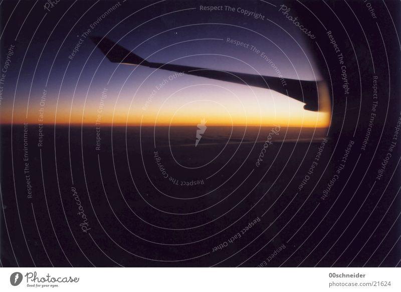 der tag erwacht Himmel Wolken Flugzeug Luftverkehr Schönes Wetter