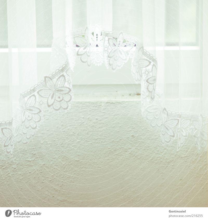 Gardine Fenster hell weiß Vorhang Lichteinfall Lichtschein Fenstersims Stoff Stoffmuster Farbfoto Innenaufnahme Muster Textfreiraum unten Tag High Key Borte