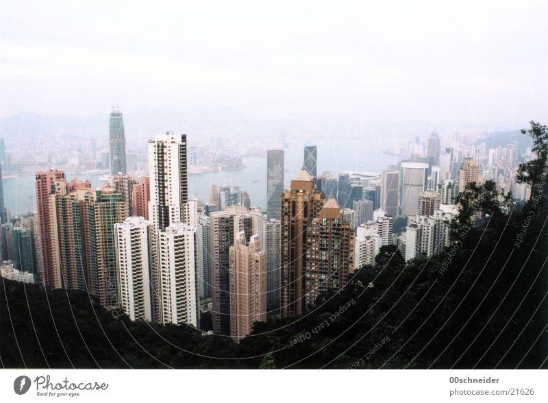 hongkong bei tag Hongkong Hochhaus Haus Architektur Skyline Wasser Stadt