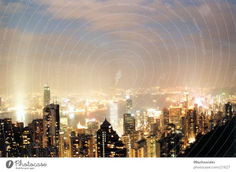 hongkong bei nacht Hongkong Nacht Licht Wolken Hochhaus Architektur Skyline Stadt