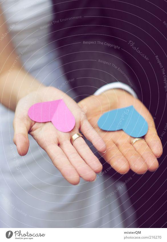Doppelherz. blau Liebe Paar Zufriedenheit Zusammensein Herz rosa Hochzeit ästhetisch Zukunft Vertrauen Kreativität Liebespaar Partnerschaft Jubiläum harmonisch