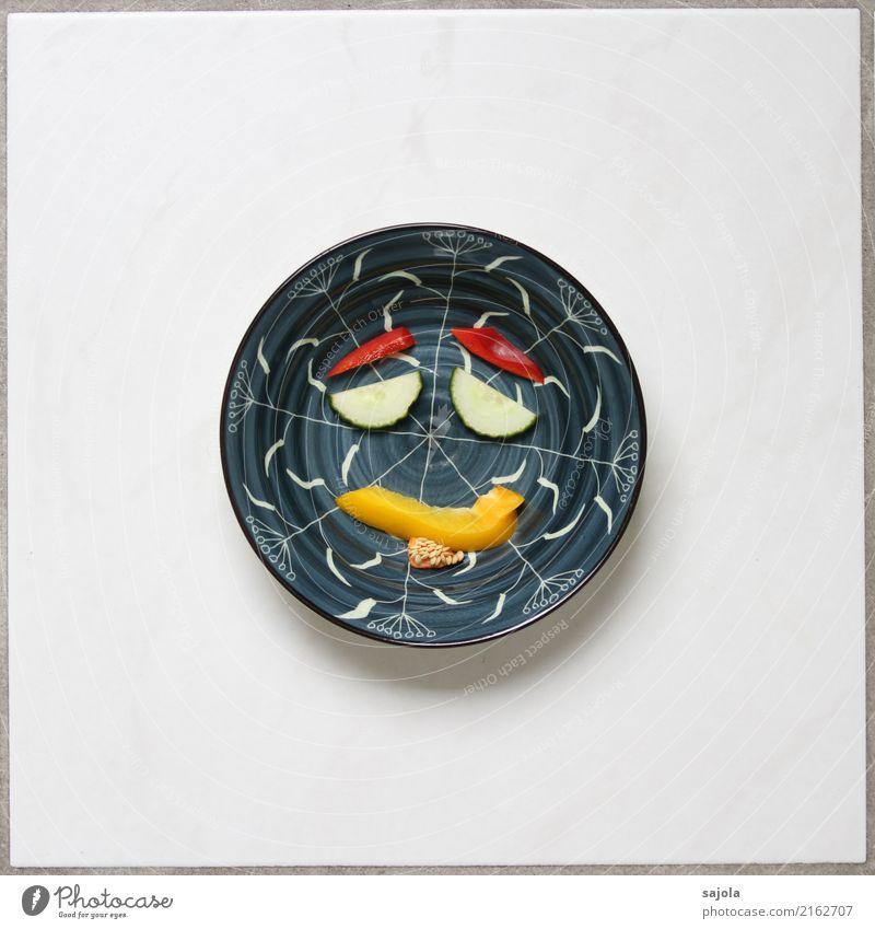 foodface - cool man Lebensmittel Gemüse Gurkenscheibe Paprikastreifen Ernährung Vegetarische Ernährung Fastfood Fingerfood Schalen & Schüsseln androgyn Gesicht