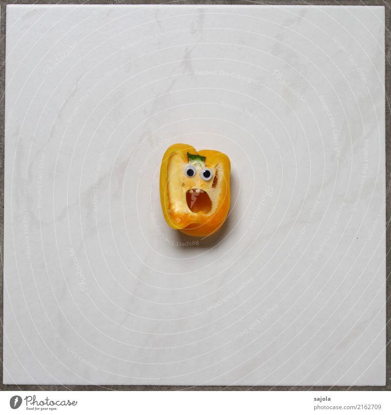 foodface - entsetzt Lebensmittel Gemüse Paprika Ernährung androgyn Kopf Gesicht Auge Mund 1 Mensch Blick schreien gelb weiß Gefühle Stimmung Enttäuschung Angst