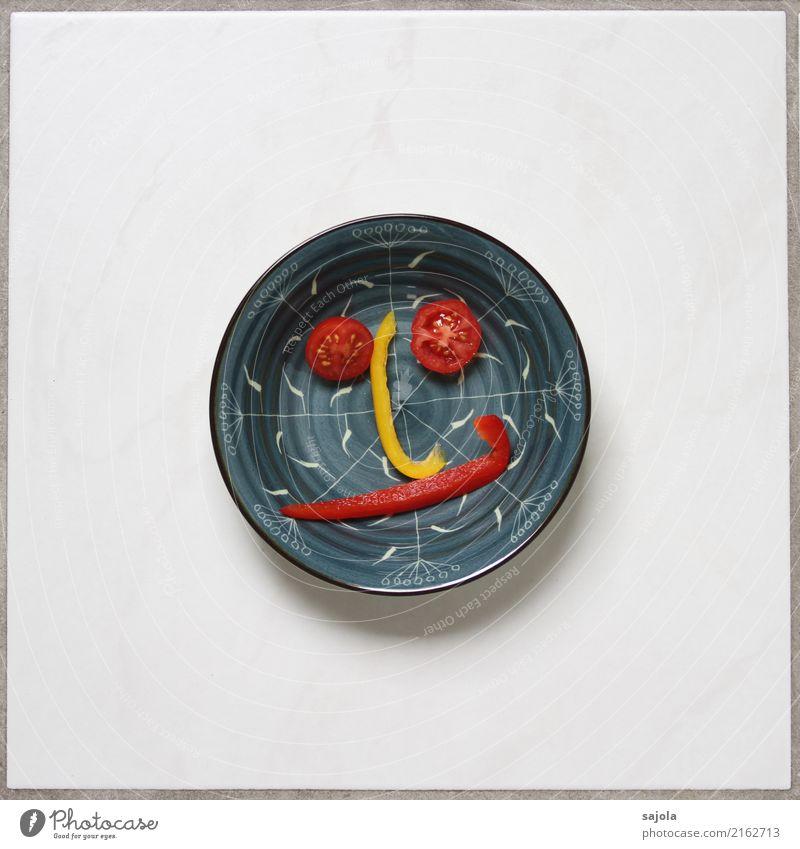 foodface - neutral Mensch blau rot Gesicht Auge gelb Gefühle Lebensmittel Stimmung Ernährung Mund Nase rund Gemüse Gesichtsausdruck Schalen & Schüsseln