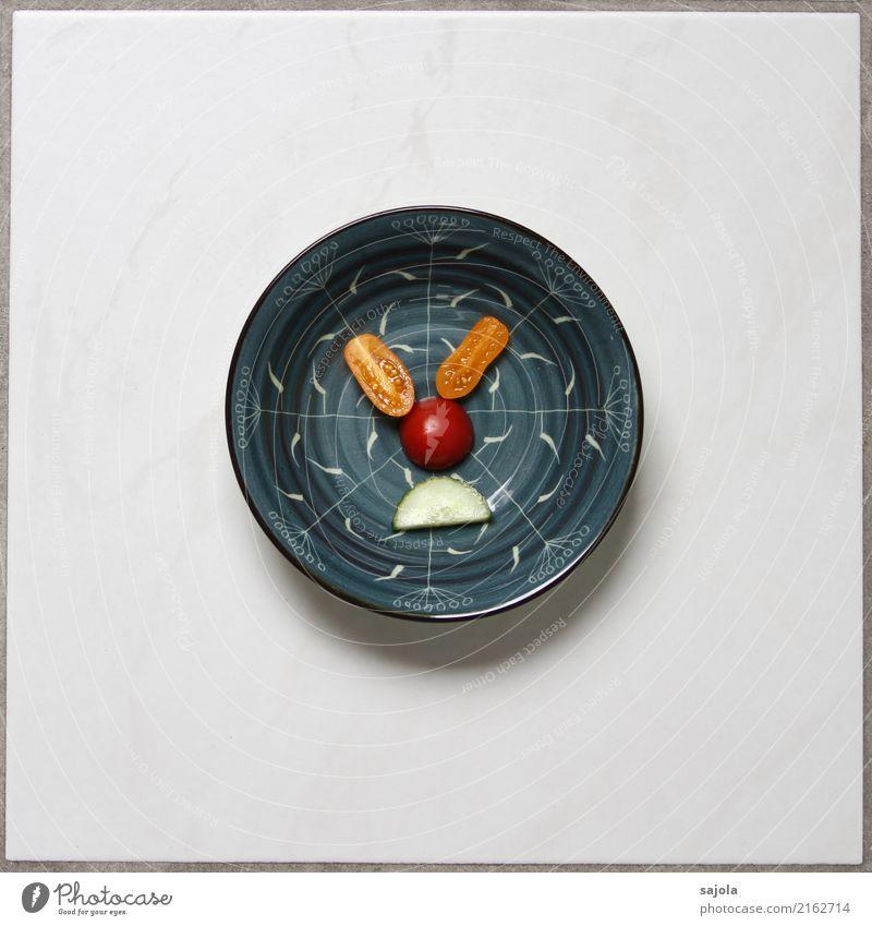 foodface - verkniffene augen Mensch blau rot Gesicht Auge Gefühle Lebensmittel Stimmung orange Ernährung Mund Nase Gemüse Gesichtsausdruck Schalen & Schüsseln