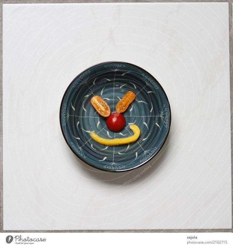 foodface - zufrieden Lebensmittel Gemüse Paprikastreifen Tomate Ernährung Vegetarische Ernährung Fastfood Fingerfood Schalen & Schüsseln androgyn Gesicht Auge
