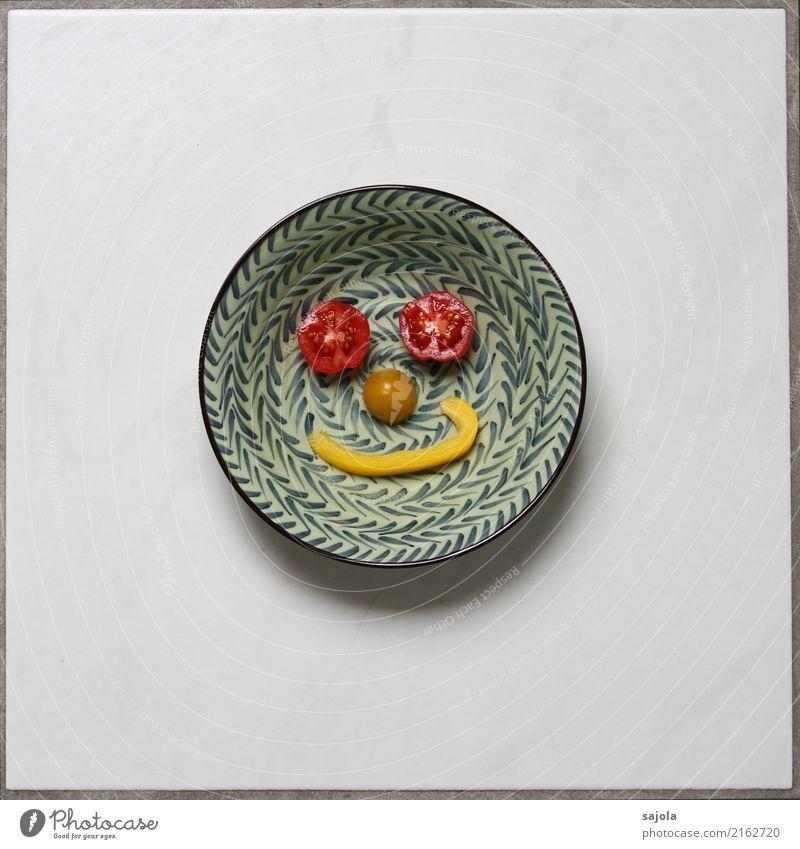 foodface - happy again Lebensmittel Gemüse Tomate Paprikastreifen Ernährung Vegetarische Ernährung Fastfood Fingerfood Schalen & Schüsseln androgyn Gesicht Auge
