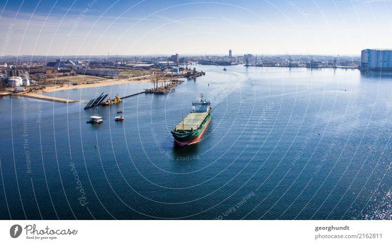 Dolchrutscher Meer Handel Güterverkehr & Logistik Luft Wasser Himmel Küste Stadt Hafen Schifffahrt Binnenschifffahrt Containerschiff Motorboot Wasserfahrzeug