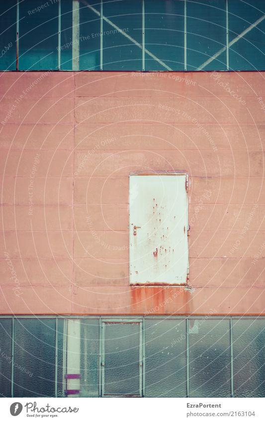 nun denn Haus Industrieanlage Fabrik Bauwerk Gebäude Architektur Mauer Wand Fassade Fenster Tür Beton Glas Metall Linie alt dreckig rot Risiko Eingang Ausgang