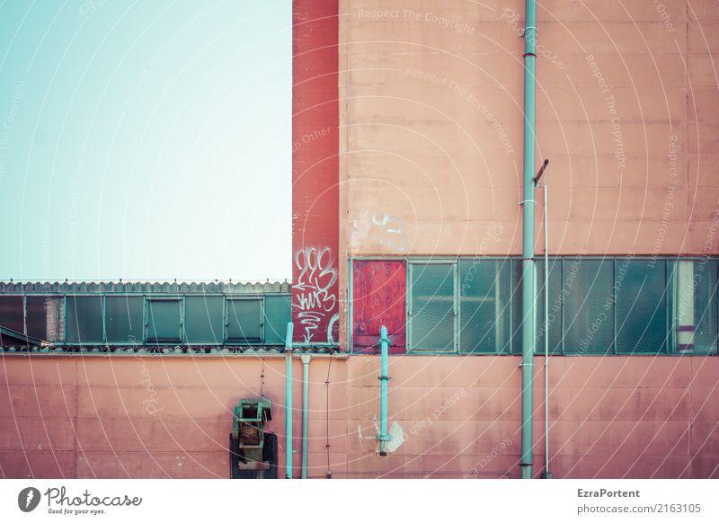 Himmel² Wolkenloser Himmel Haus Industrieanlage Fabrik Bauwerk Gebäude Architektur Mauer Wand Fassade Fenster Dachrinne Beton Glas Linie alt hässlich blau rot