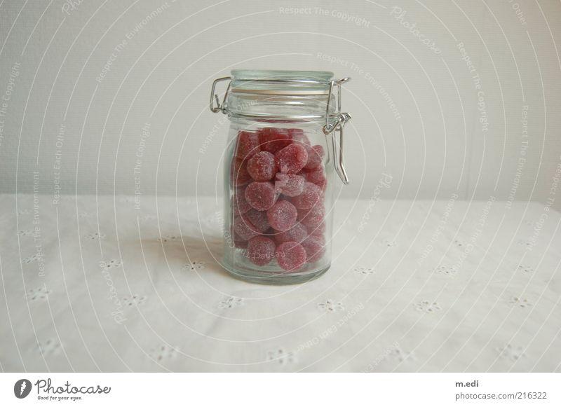 sehr süß. Lebensmittel Süßwaren Bonbon Glas Behälter u. Gefäße Einmachglas rosa weiß Farbfoto Innenaufnahme Foodfotografie Freisteller Bonbonglas voll
