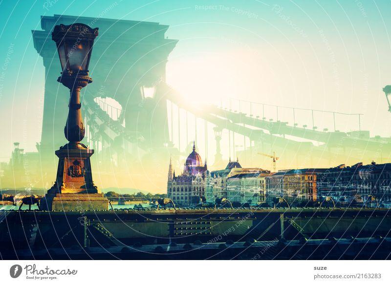 Doppeldeutigkeiten | Budapest alt Kunst Tourismus Europa Brücke historisch Sehenswürdigkeit Bauwerk Straßenbeleuchtung Hauptstadt Laterne Städtereise