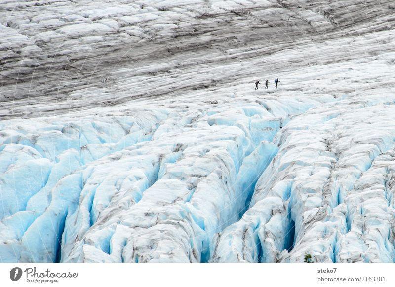 Exit Gletscher 3 Mensch Menschengruppe Winter Klimawandel Eis Frost frieren wandern bedrohlich gigantisch kalt blau grau weiß Wege & Pfade Zusammenhalt