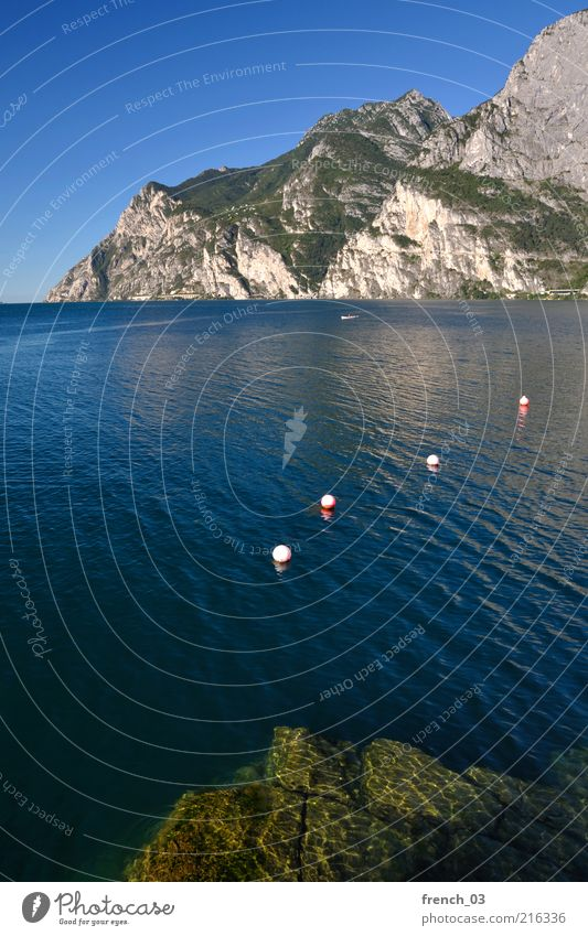 Gardasee ganz ruhig Wasser Himmel Sonne grün blau Sommer Ferien & Urlaub & Reisen Erholung Berge u. Gebirge grau See Landschaft Stimmung Felsen Alpen