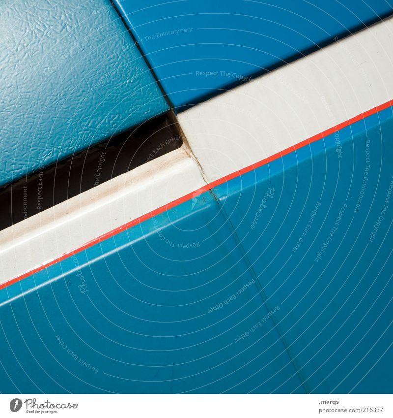 Straight Stil Design Metall Linie Streifen ästhetisch einfach blau rot weiß Ordnung positiv Farbfoto Detailaufnahme Textfreiraum unten azurblau Hintergrundbild