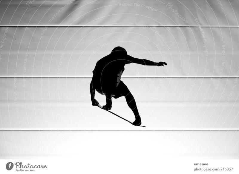Feinstform Mensch Jugendliche weiß Freude schwarz Sport Freiheit Bewegung springen Linie Freizeit & Hobby fliegen maskulin ästhetisch Lifestyle Fitness