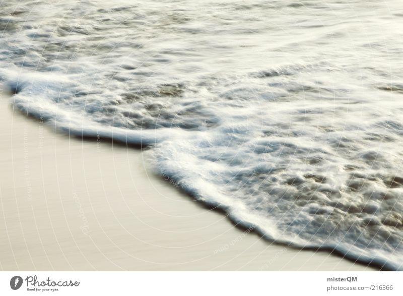 Meer. Wasser weiß Strand Ferien & Urlaub & Reisen Erholung Bewegung Zufriedenheit Küste Wellen ästhetisch Urelemente Ewigkeit Schaum Gischt Gezeiten