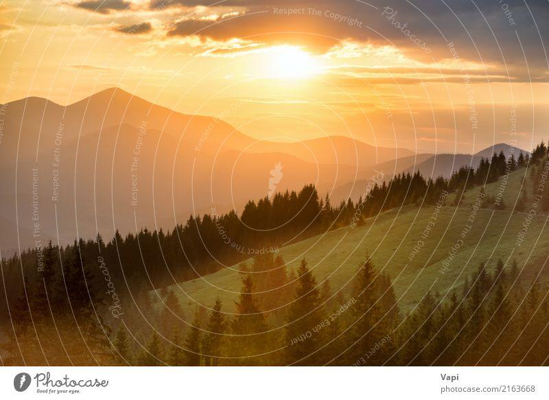 Schöner drastischer Sonnenuntergang in den Bergen Himmel Natur Ferien & Urlaub & Reisen Himmel (Jenseits) blau Sommer Farbe grün weiß Baum Landschaft rot Wolken