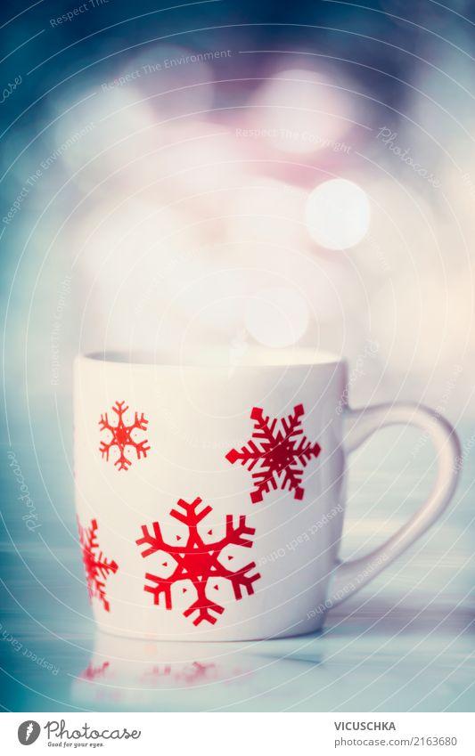 Winter Tasse mit Schneeflöckchen Weihnachten & Advent Stil Design retro Getränk Kaffee Tee Schneeflocke Kakao Heißgetränk Glühwein