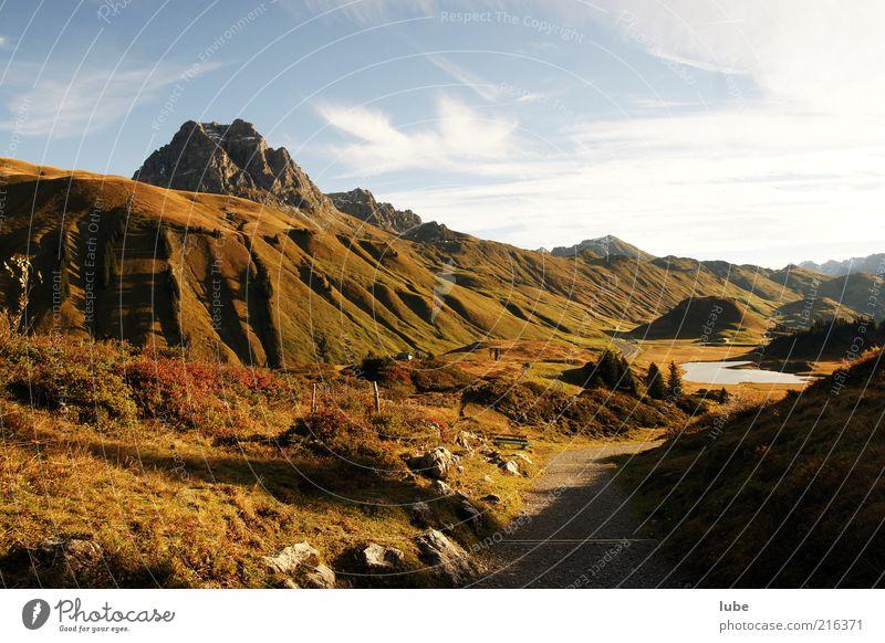 Hochtannberg Umwelt Natur Landschaft Herbst Wetter Schönes Wetter Hügel Felsen Alpen Berge u. Gebirge Gipfel Menschenleer Wege & Pfade Bregenzerwald