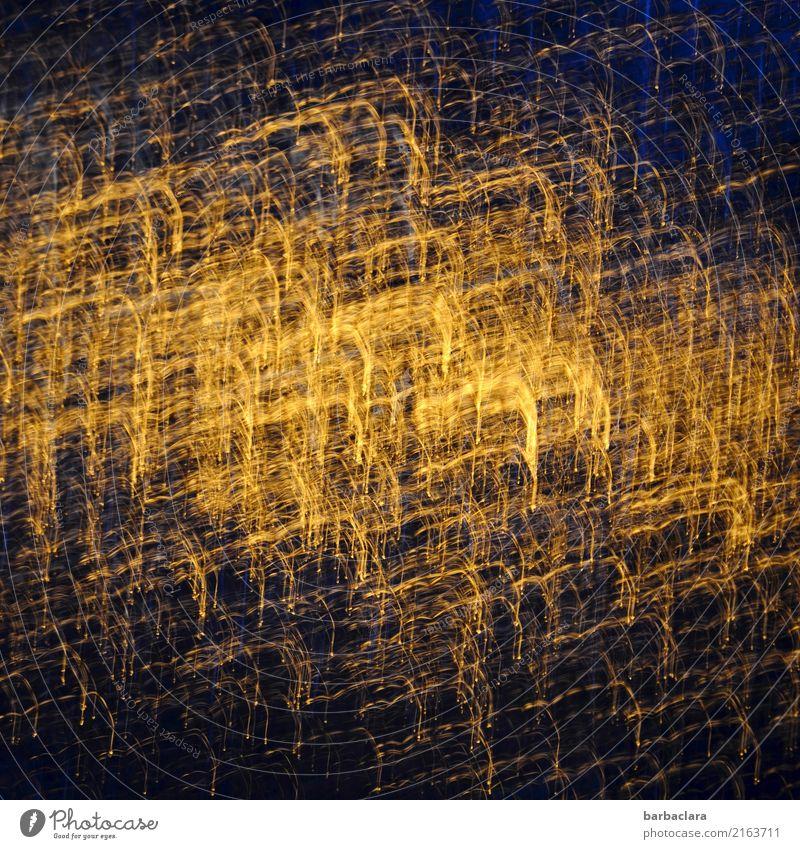 kreativ | Sonnenreflexion auf Glas Feste & Feiern Tür Linie leuchten außergewöhnlich blau gold Stimmung Bewegung bizarr Kreativität Kunst Farbfoto Innenaufnahme