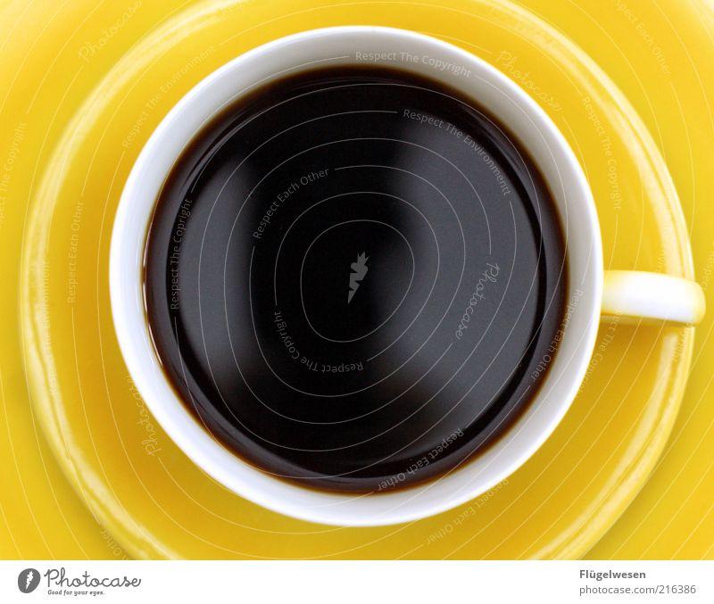Ein Käffchen muß noch Ernährung gelb Erholung Zufriedenheit Getränk Kaffee trinken rund dünn Geschirr stark Tasse genießen Becher Durst Espresso