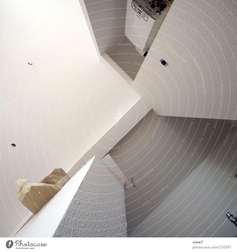 Renovierung weiß Ferne Wand oben Stein Mauer Linie Raum planen Wohnung Fassade frisch modern Küche einfach Baustelle