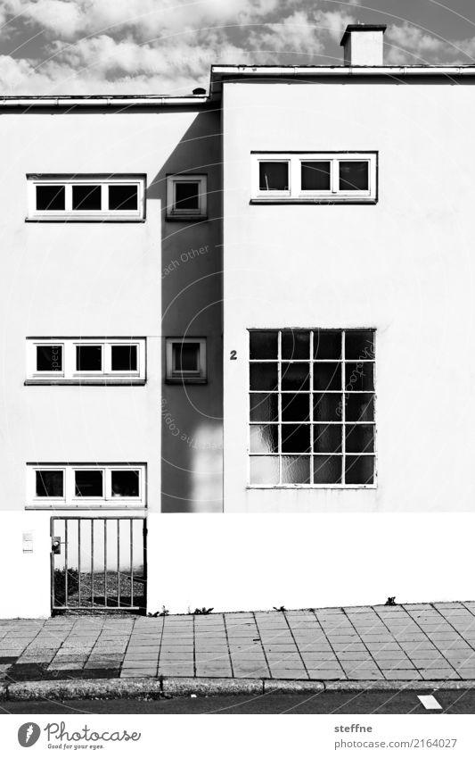 Rechteck in Stuttgart Haus Fassade Häusliches Leben Kontrast Moderne Architektur Schwarzweißfoto Außenaufnahme Menschenleer Textfreiraum unten