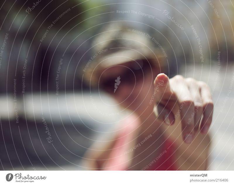 You! feminin Frau Erwachsene ästhetisch zeigen Hinweis Zukunft Orientierung wählen Ferien & Urlaub & Reisen Hand Finger Zeigefinger Unschärfe Durchblick planen