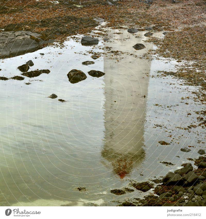 Island Umwelt Natur Landschaft Wasser Küste Bucht Fjord Meer Akranes Leuchtturm Schifffahrt Hafen einfach Stimmung Stein Farbfoto Außenaufnahme Menschenleer