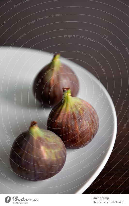 3xFicus Feige Frucht fruchtig violett grün Teller roh Gesundheit lecker süß reif Beilage Gesunde Ernährung Südfrüchte exotisch frisch weiß braun weich Farbfoto