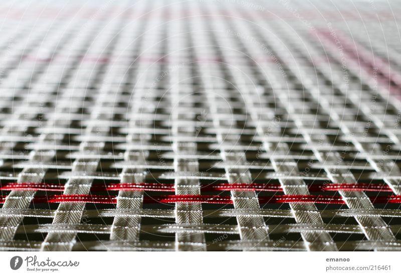 Das Tuch Sportstätten Kreuz Linie Streifen Schnur Knoten springen stark weich weiß Kontrolle Konzentration Kraft Stoff Trampolin Turnen Fluchtpunkt Netz rot